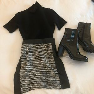 H&M Tweed and Faux Leather Mini Skirt